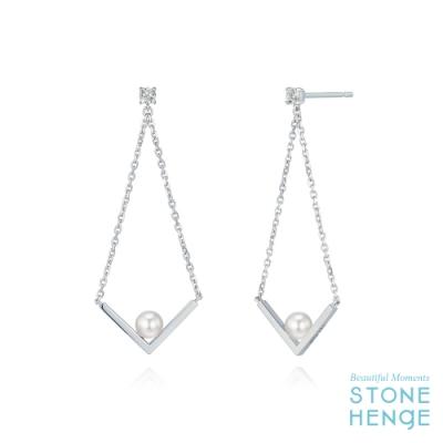 STONEHENgE 斯通亨奇 金秘書同款純銀不規則造型水晶珍珠鋯石長耳飾
