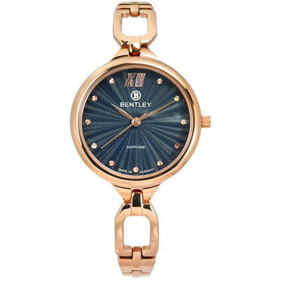 BENTLEY 賓利 晶鑽 德國製造 藍寶石水晶玻璃 不鏽鋼手錶-深藍x鍍玫瑰金/30mm