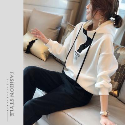 2F韓衣-簡約連帽配色造型套裝-2色(M-2XL)