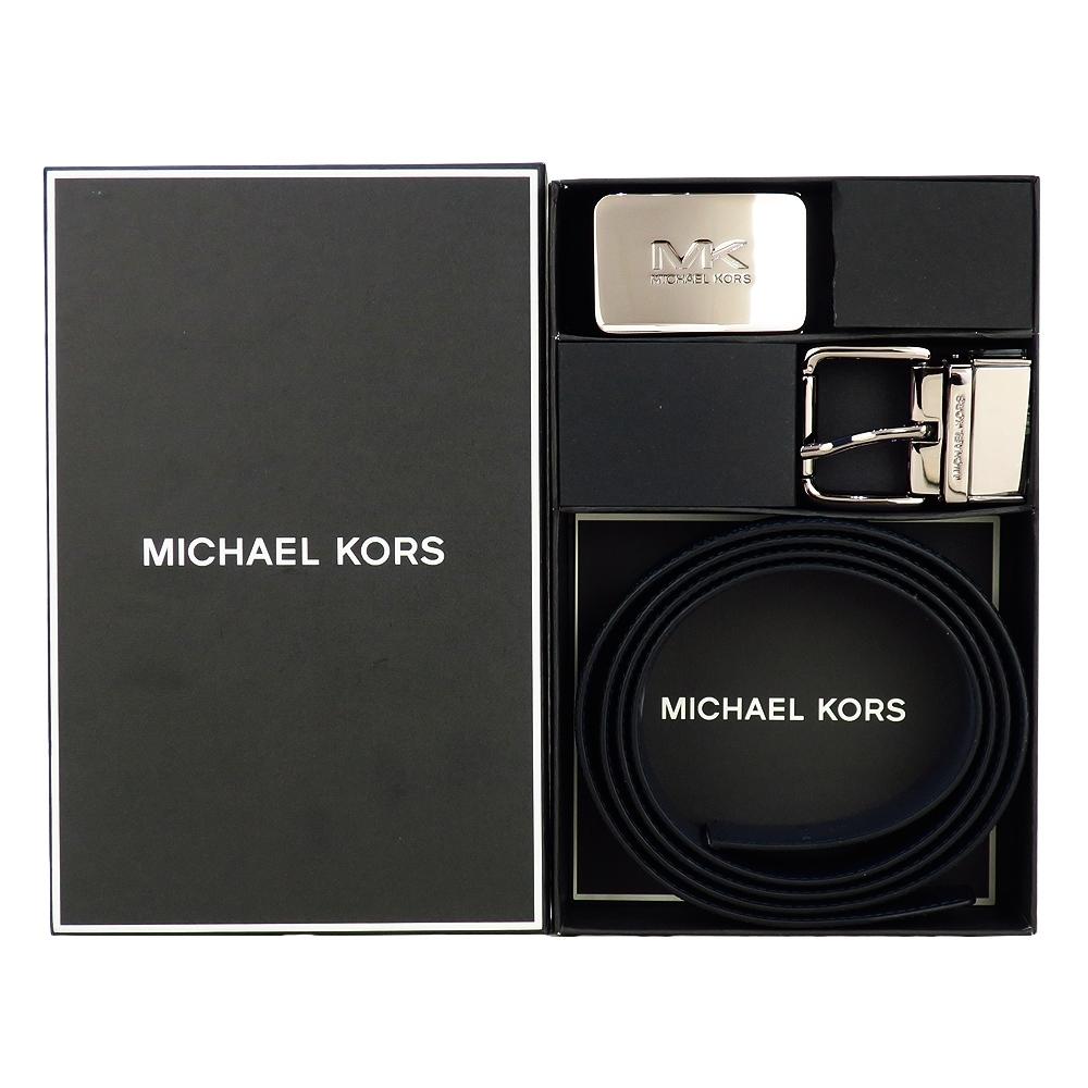 MK MICHAEL KORS 滿版方牌/針扣雙頭雙面用皮帶禮盒組-藍