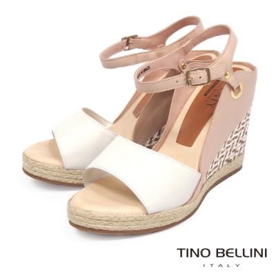 Tino Bellini巴西進口色彩混搭雙領楔型涼鞋_白+粉