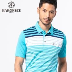 BARONECE 百諾禮士休閒商務  男裝 吸濕排汗定位條紋短袖POLO衫-藍色(1188284-35)