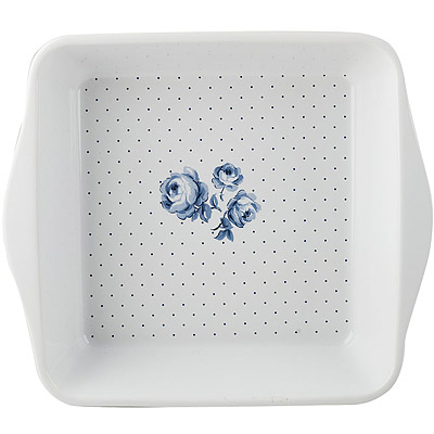 CreativeTops Katie復古藍方型陶製烤盤(藍格27cm)