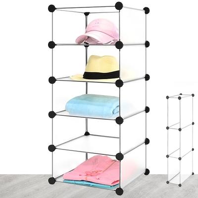 五層5格DIY透明收納櫃 (戶外鞋櫃五格簡易矮櫃收納架/魔片衣櫥置物櫃/百變衣櫃置物架/間隙縫書櫃書架子/塑料鞋櫃組合架/儲物組合櫃收納箱)