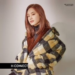 H:CONNECT 韓國品牌 女裝 - 彩格毛呢夾克外套 - 深藍