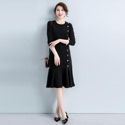 2F韓衣-韓系中大尺碼單排扣造型氣質拼接洋裝-新(L-3XL)