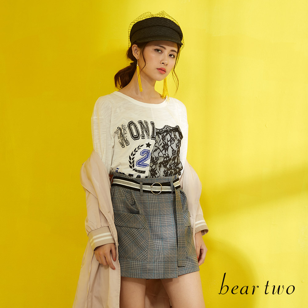 beartwo 印花蕾絲不對稱拼接五分袖T恤上衣(二色)