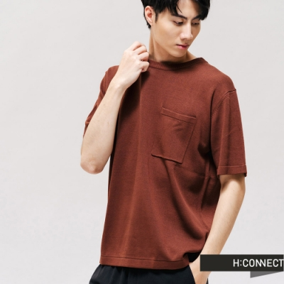 H:CONNECT 韓國品牌 男裝 -圓領口袋針織上衣-棕