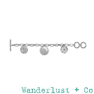 Wanderlust+Co 澳洲品牌 閃耀星系X古典銀河X太陽與月亮 浪漫垂墜式銀色手鍊
