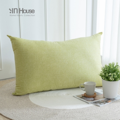IN-HOUSE-日式簡約棉麻胖胖枕(90x60cm-芥末綠)