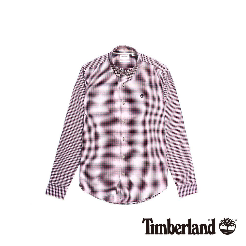 Timberland 男款酒紅色格紋長袖襯衫