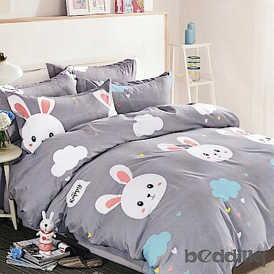 BEDDING-活性印染5尺雙人薄床包涼被組-調皮兔