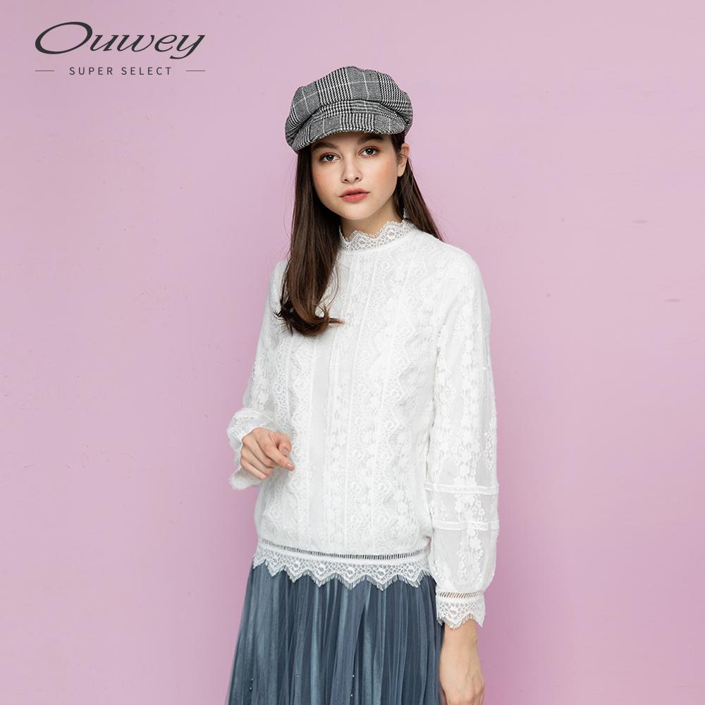 OUWEY歐薇 精緻睫毛蕾絲小立領上衣(白)
