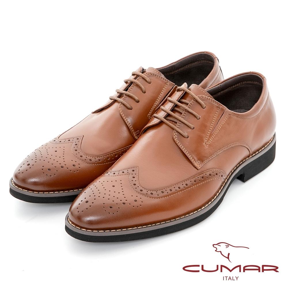【CUMAR】商務菁英 輕量舒適大底真皮紳士鞋-紅棕