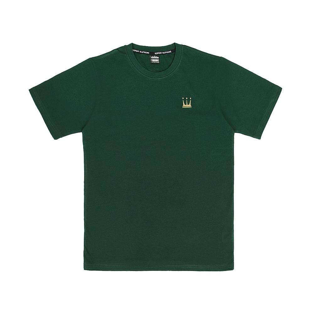 【DADA SUPREME】EMBROIDERY CROWN 中性刺繡休閒短袖上衣-墨綠