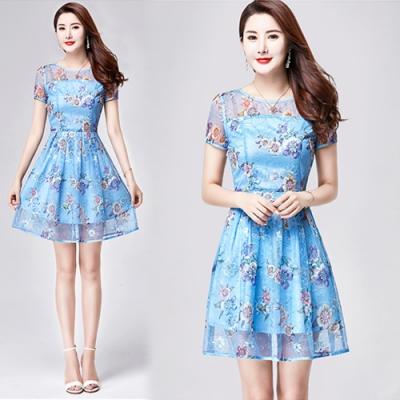 【韓國K.W.】韓流時尚首選網紗繡花洋裝