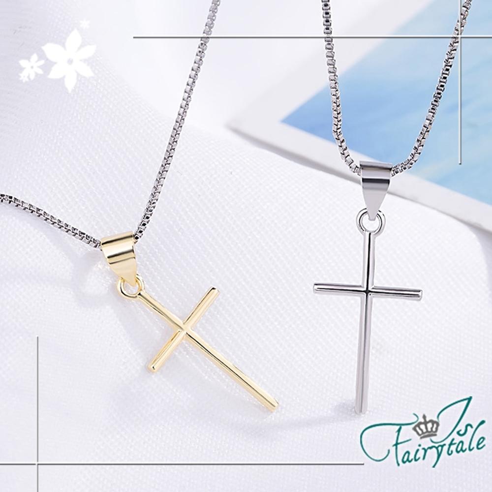 iSFairytale伊飾童話 純潔十字架 銅電鍍鎖骨短項鍊 2色可選