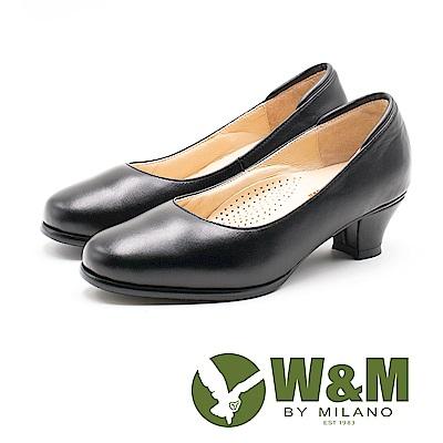 W&M 舒適氣墊 優雅圓頭中跟皮鞋 女鞋-黑