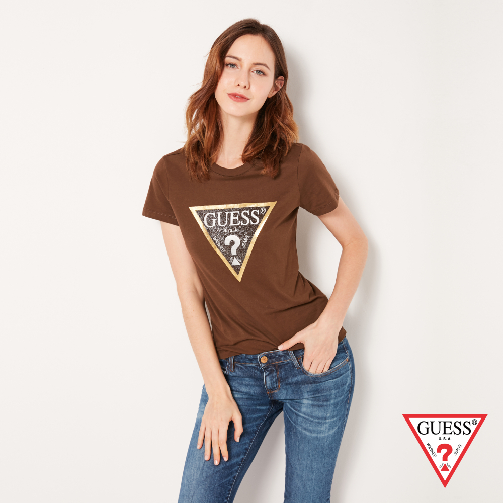 GUESS-女裝-金邊經典倒三角LOGO短T,T恤-棕 原價1290