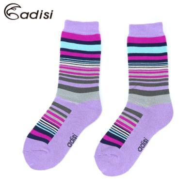 【ADISI】 條紋保暖對折雪襪 AS17044【淺紫】