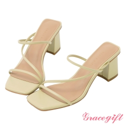 Grace gift-Z字方頭高跟涼拖鞋 青綠