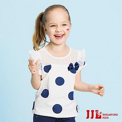 JJLKIDS 復古大點點蕾絲拼接上衣(白色)