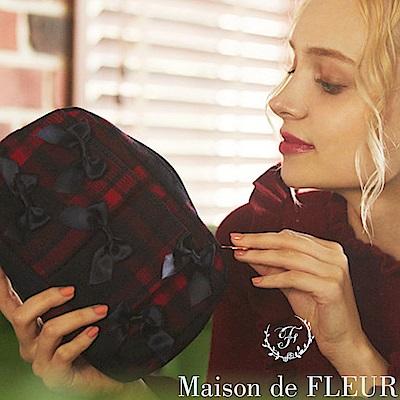 Maison de FLEUR 經典格紋蝴蝶結裝飾手拿包