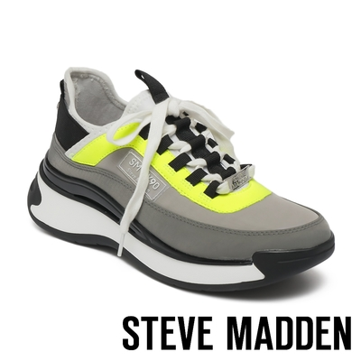 STEVE MADDEN-CALIBRE 拼接厚底增高運動休閒鞋-螢光灰