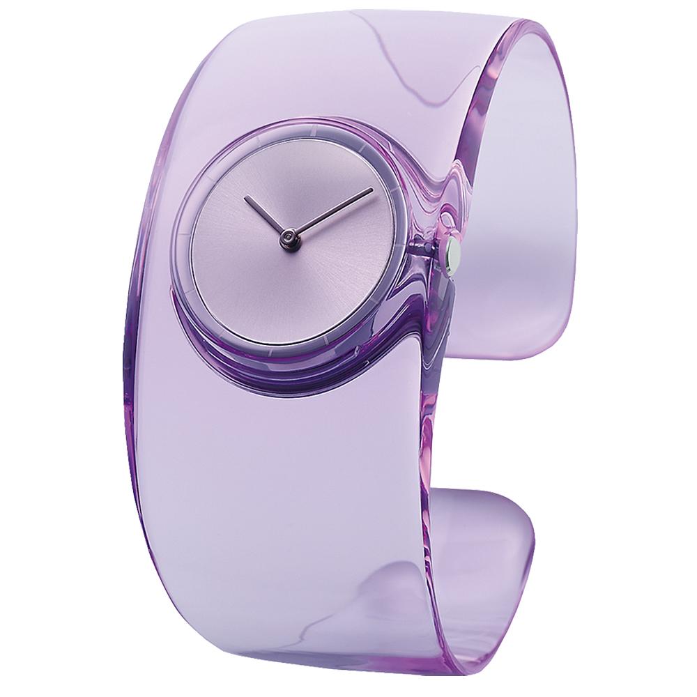 ISSEY MIYAKE 三宅一生 O系列透視風時尚手錶-銀X紫/33mm