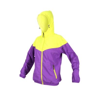 SOFO 女抗UV外套-可收納 防曬外套 連帽外套 慢跑 路跑 紫黃