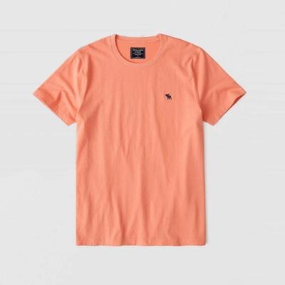 麋鹿 AF A&F 經典圓領電繡麋鹿素面純棉短袖T恤(BONL)-粉橘色