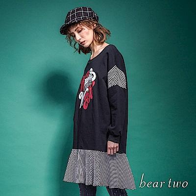 beartwo 勵志英文印刷拼接條紋洋裝(2色)
