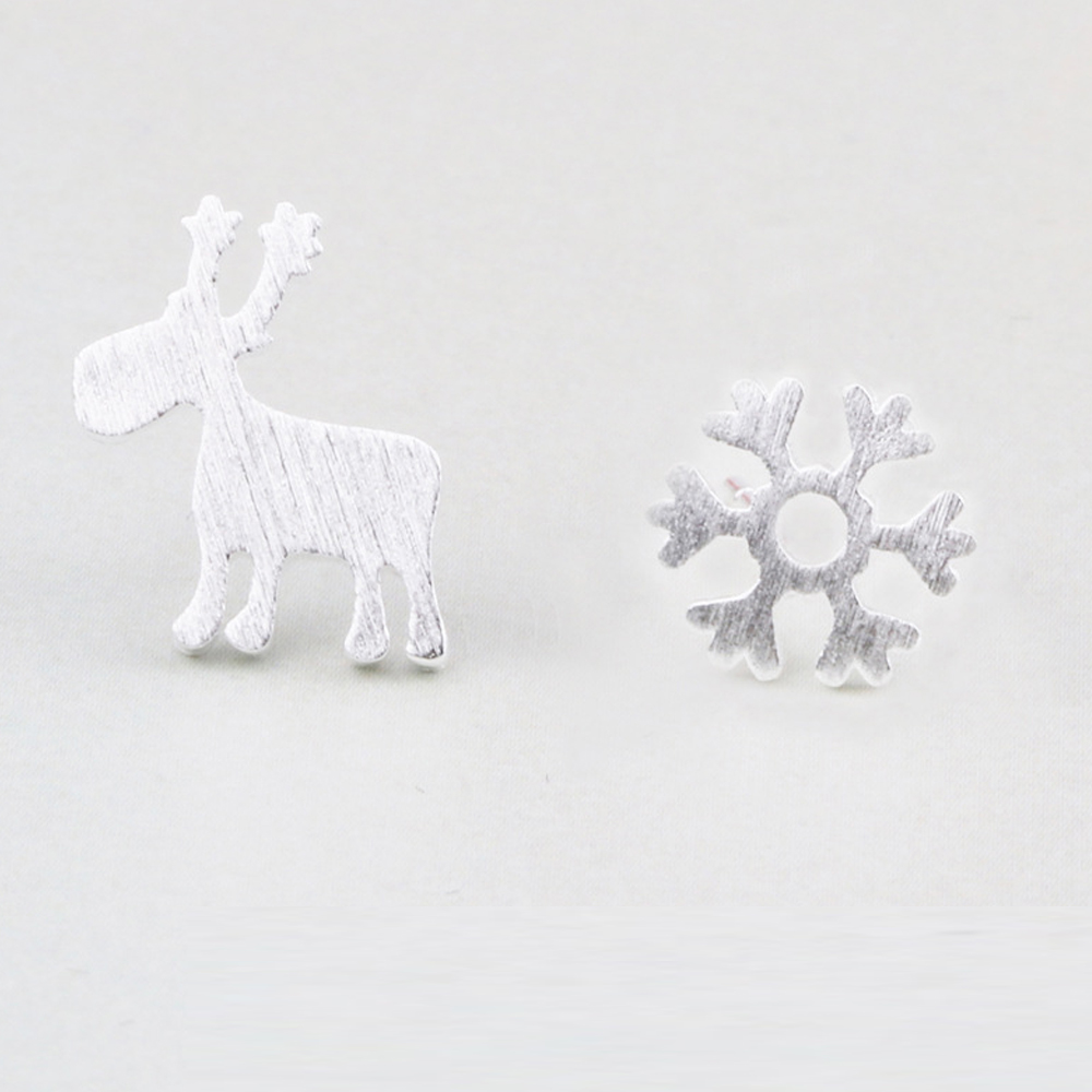 iSFairytale伊飾童話 北歐麋鹿 雪花電鍍造型耳環