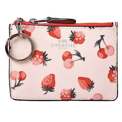 COACH 燙銀馬車防刮牛皮紋卡夾/零錢鑰匙包-草莓甜心