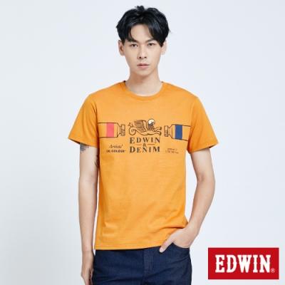 EDWIN 塗鴉系列 怪獸LOGO短袖T恤-男-桔黃色