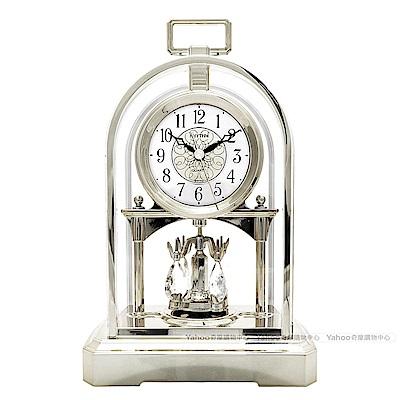 RHYTHM日本麗聲 構築奢華宮廷裝飾座鐘(閃耀銀)/28cm