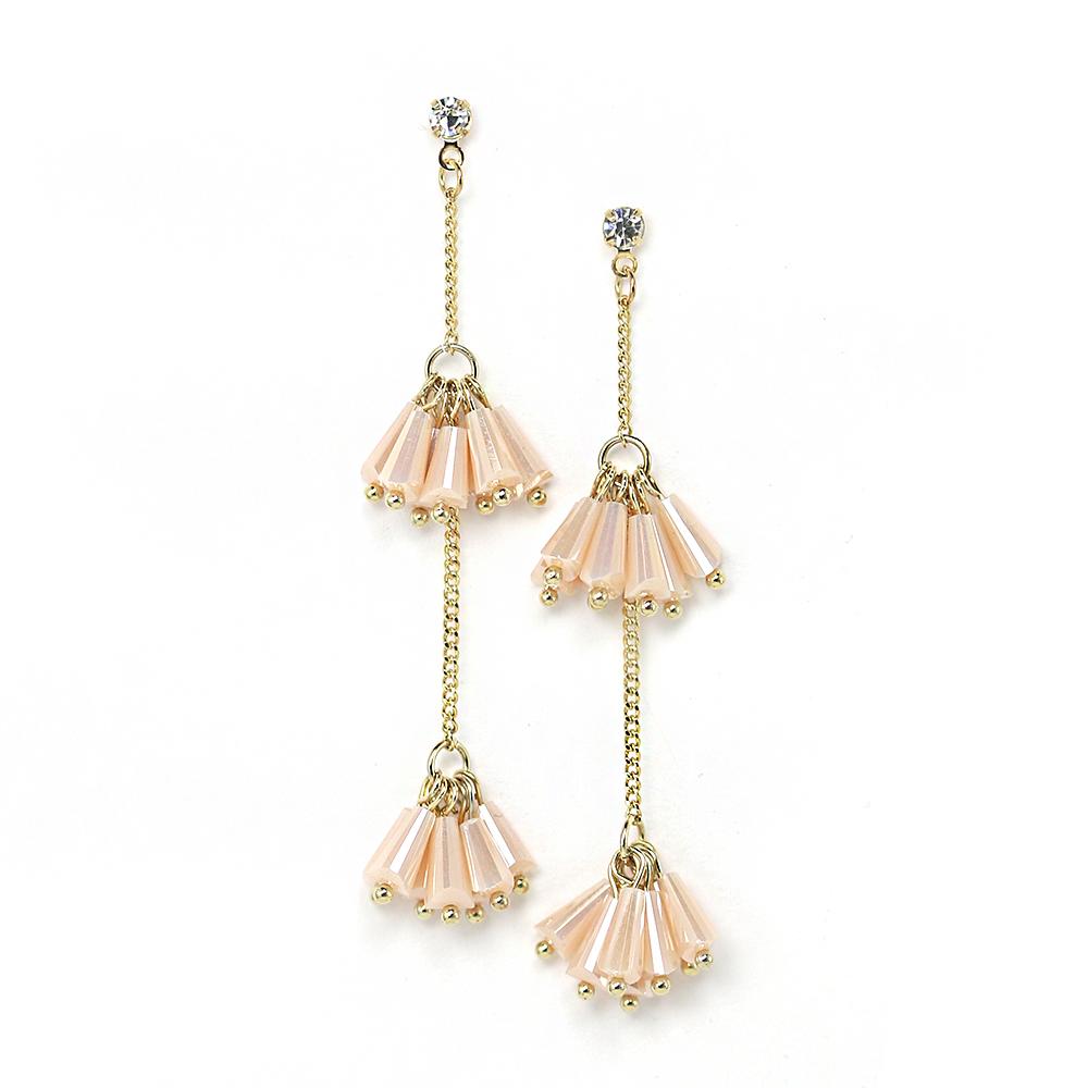 LOVERS TEMPO加拿大品牌 桃粉水晶珠流蘇鑲嵌鋯石 垂墜耳環