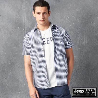 Jeep 男裝 休閒百搭格紋短袖襯衫-藍色