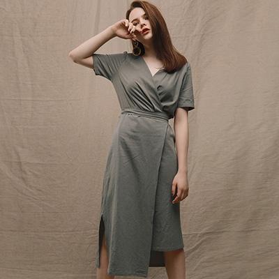 AIR SPACE LADY 知性棉質綁帶洋裝(綠)