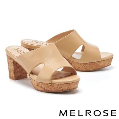 拖鞋 MELROSE 簡約質感時髦羊皮側空粗高跟拖鞋-杏