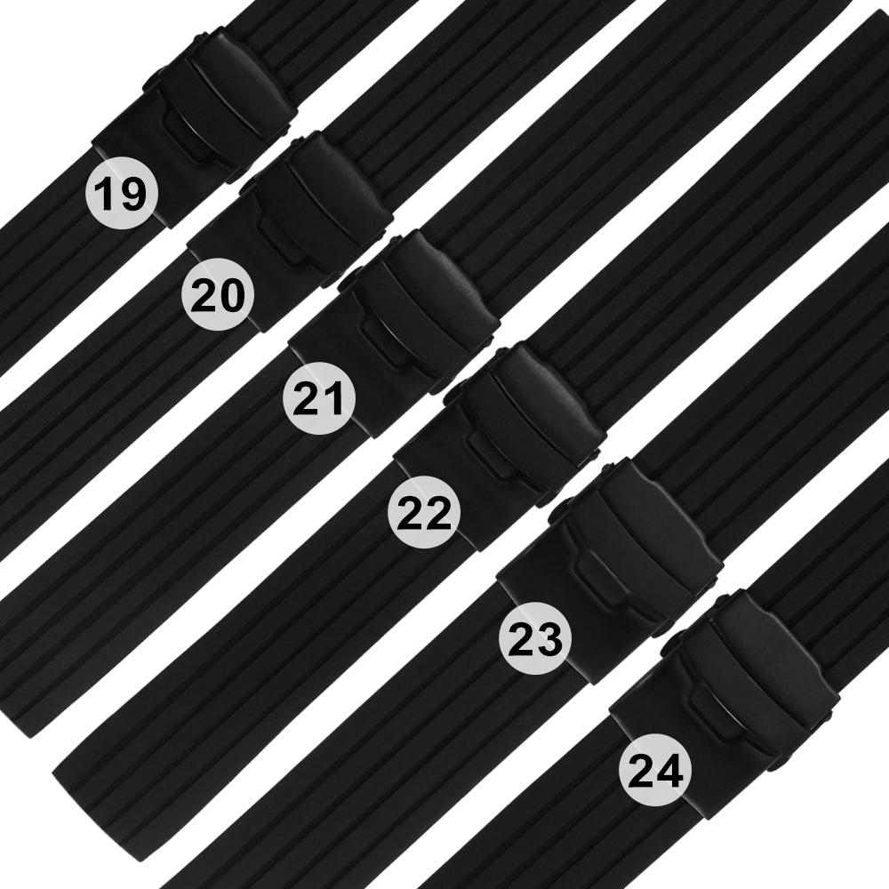 Watchband / 各品牌通用 舒適耐用 可剪裁 不鏽鋼扣 矽膠錶帶 黑色