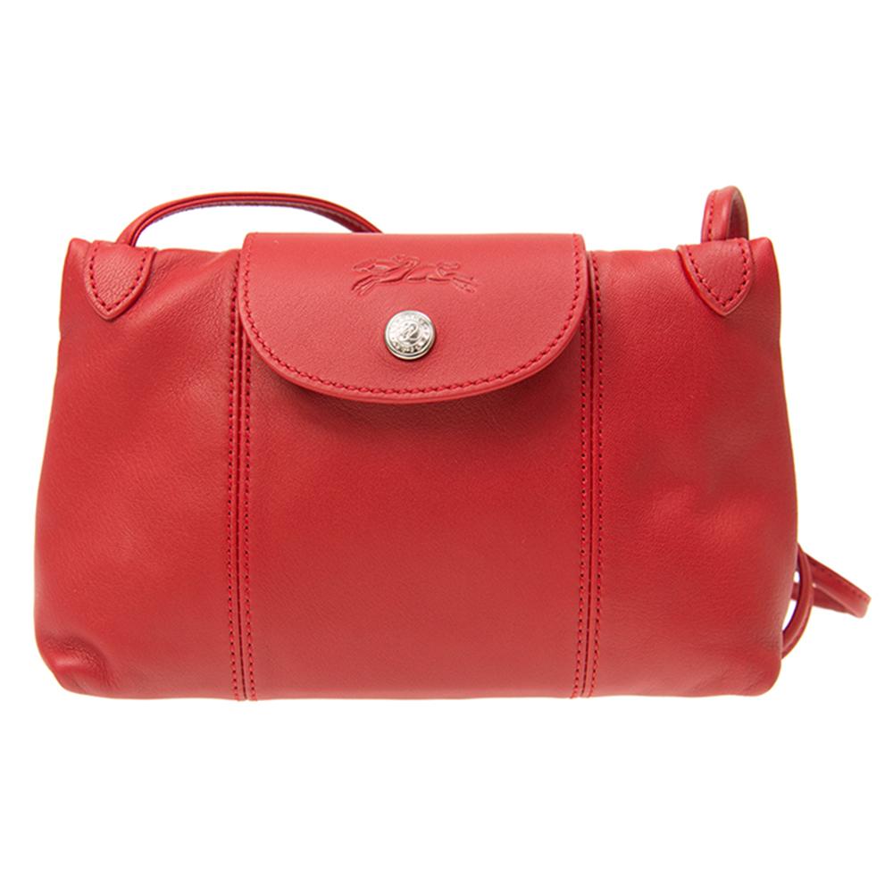 Longchamp 小羊皮系列LE PLIAGE CUIR 斜肩/側背包 紅色 @ Y!購物