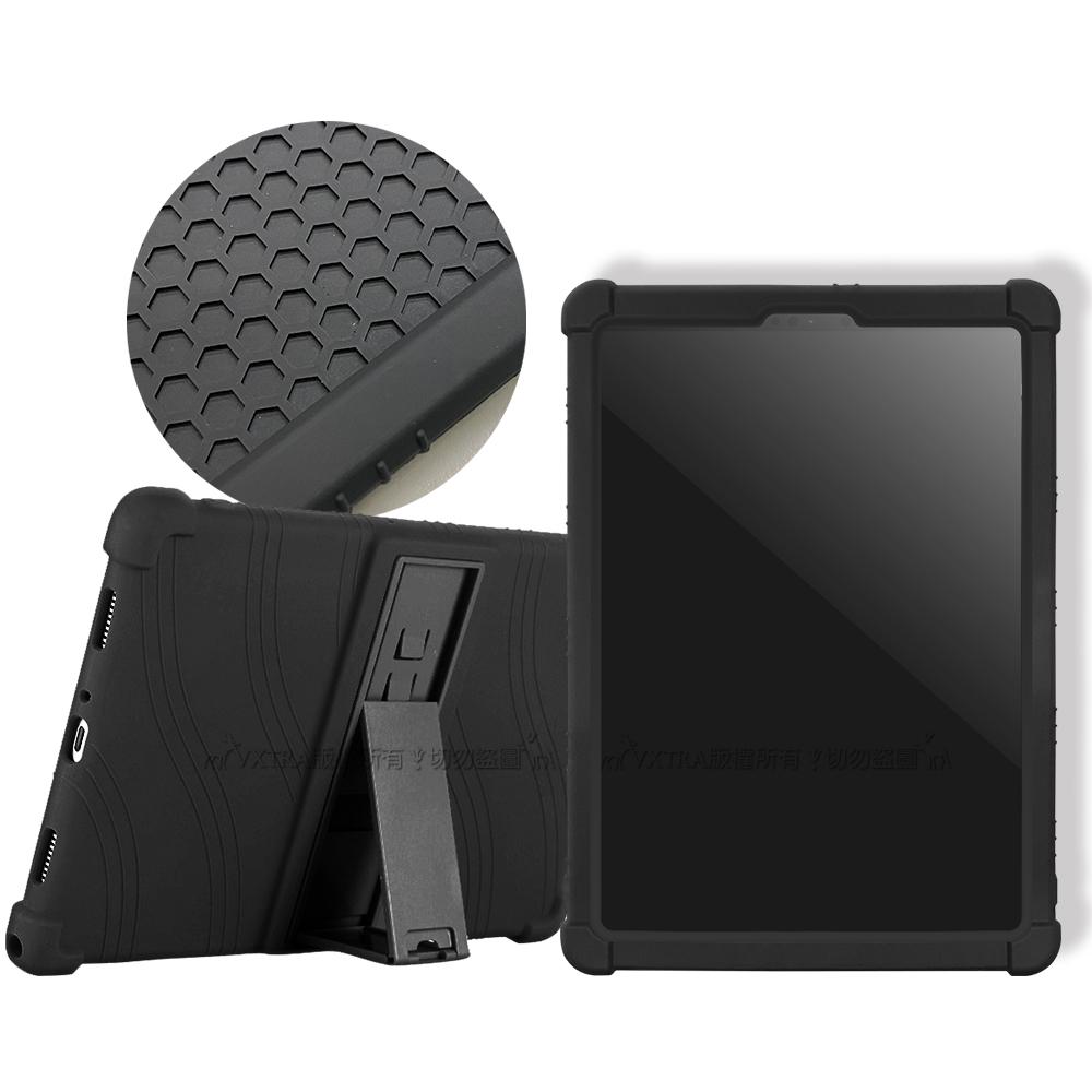 VXTRA 2020 iPad Pro 11吋/iPad Air 4 10.9吋 共用 全包覆矽膠防摔支架軟套 保護套(黑)