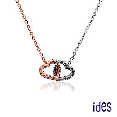 ides愛蒂思 日本輕珠寶玫瑰金系列鑽石項鍊/愛心14K雙色