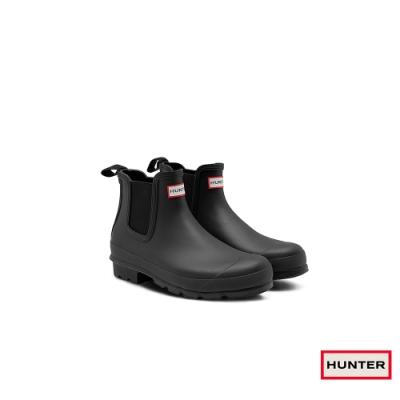 HUNTER 男鞋-切爾西霧面踝靴-黑