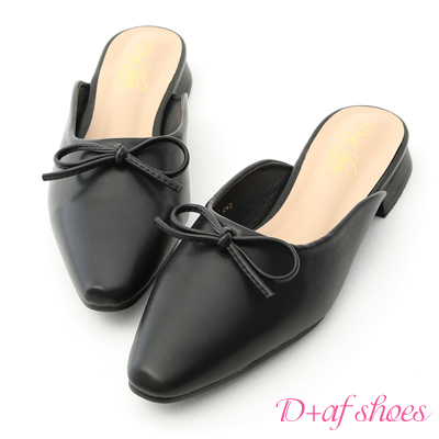 D+AF 簡約優雅.百搭小尖頭芭蕾穆勒鞋*黑