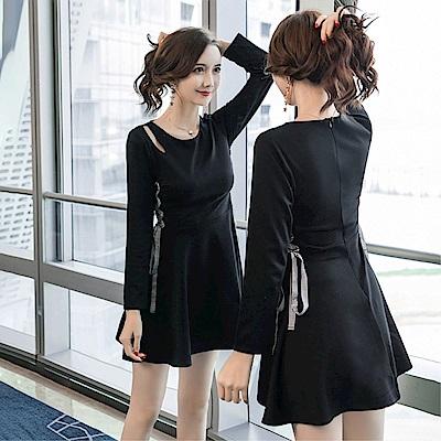 DABI 韓國風名媛時尚圓領綁帶氣質顯瘦長袖洋裝