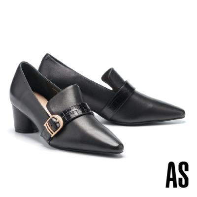 高跟鞋 AS 俐落金屬釦全真皮高跟鞋-黑
