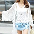 正韓 開襟鏤空蕾絲寬袖長版罩衫 (共二色)-N.C21