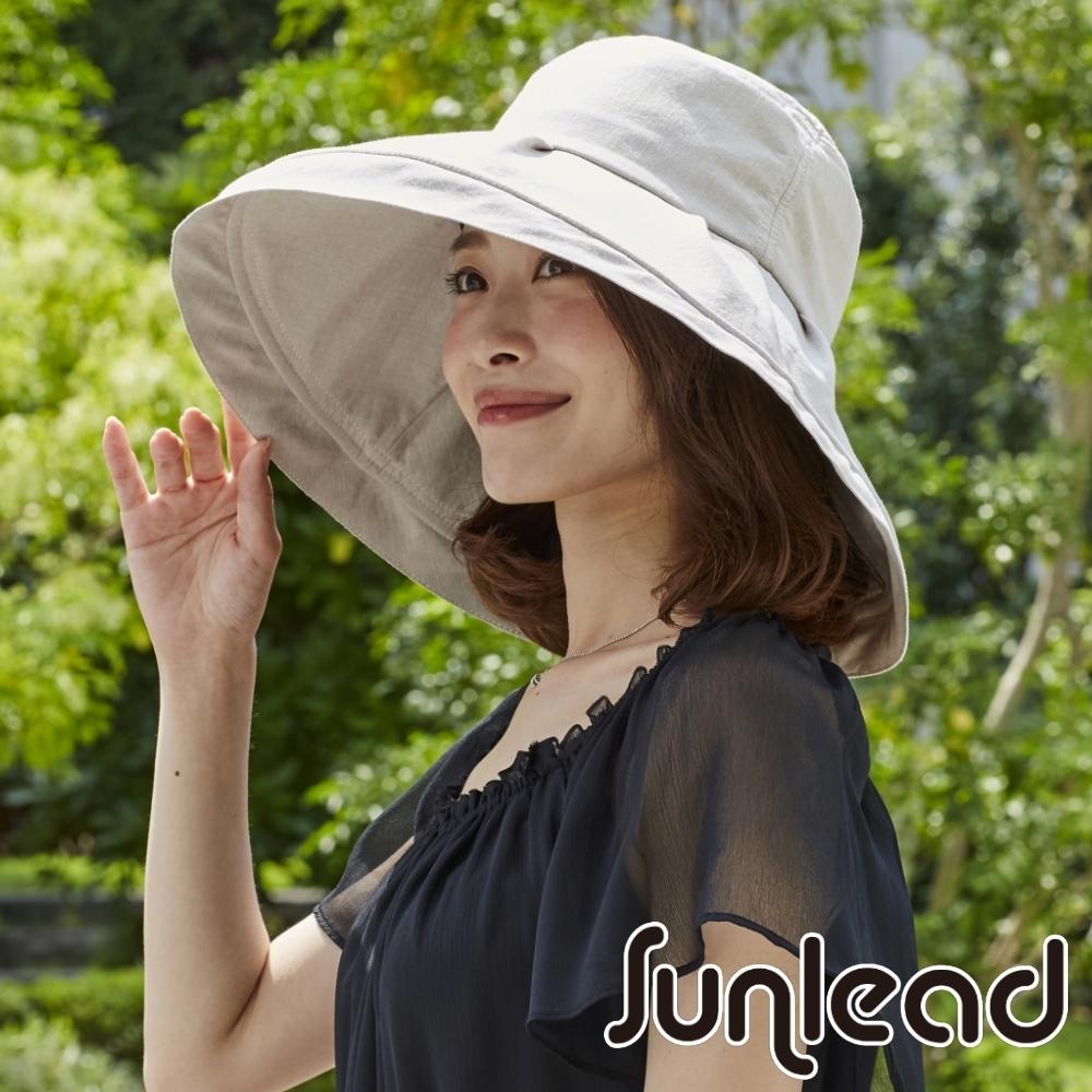 Sunlead 防曬護頸寬緣。小顏效果防風吹落抗UV遮陽帽/傘帽 (米褐色)